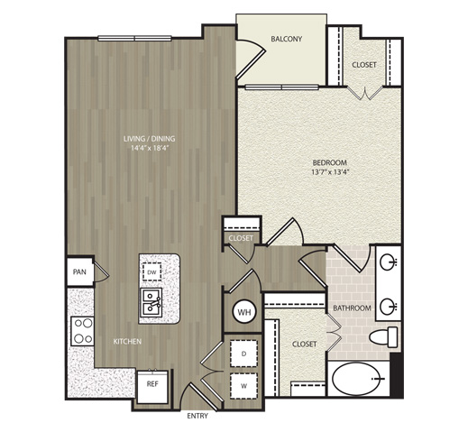 829 sq. ft. A27 floor plan
