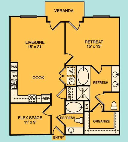 1,018 sq. ft. A5A floor plan