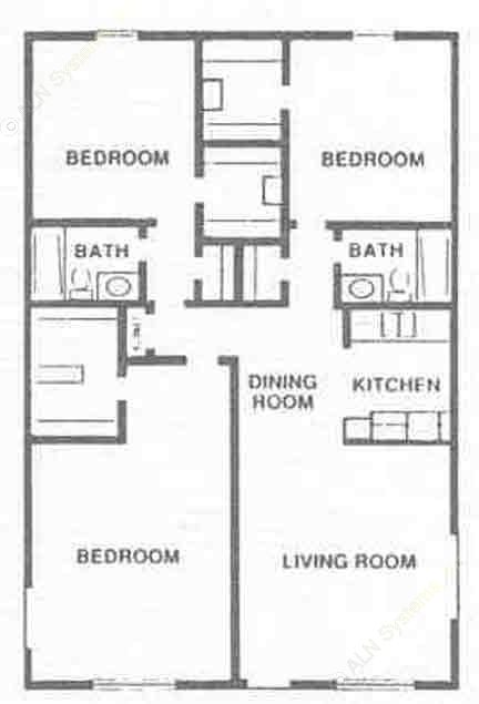 1,097 sq. ft. C1 floor plan