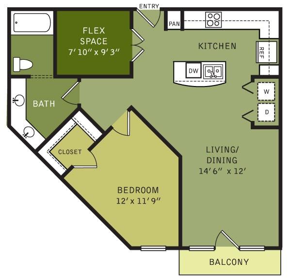 913 sq. ft. AF1 (II) floor plan