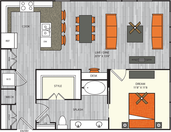 889 sq. ft. A7 floor plan