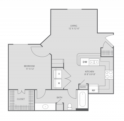 625 sq. ft. A2 floor plan