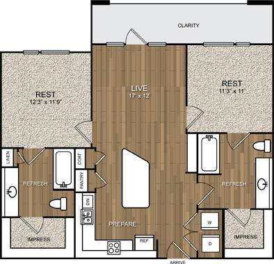 996 sq. ft. B1 floor plan