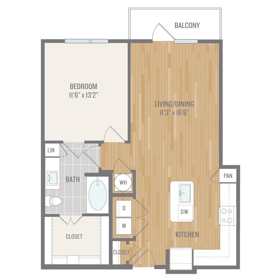 794 sq. ft. A6 floor plan