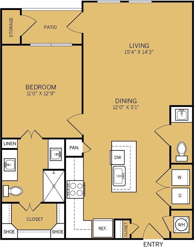 861 sq. ft. A5 floor plan