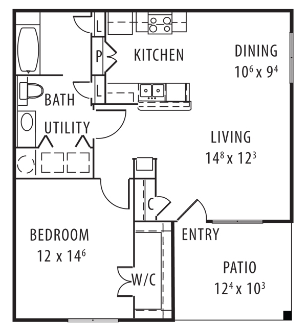 814 sq. ft. 50% floor plan