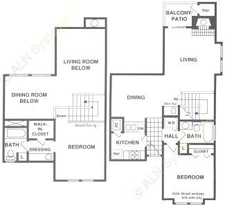 1,041 sq. ft. BTH floor plan