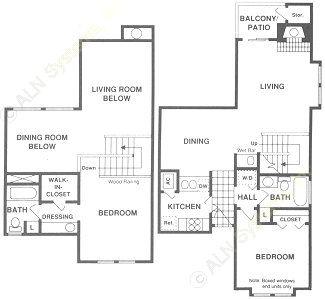 1,041 sq. ft. BTH floor plan