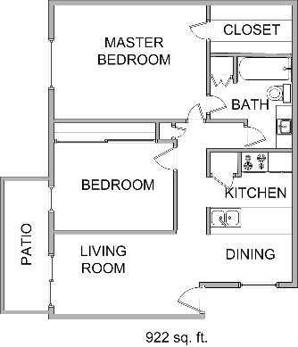 922 sq. ft. floor plan