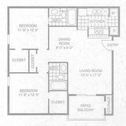 932 sq. ft. B-1 floor plan