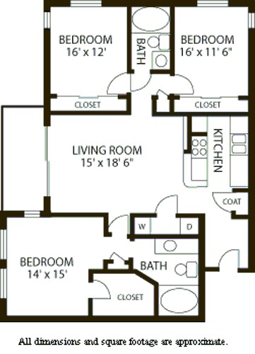 1,396 sq. ft. C2 floor plan