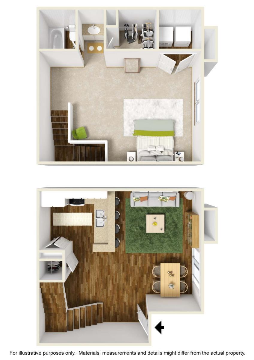 784 sq. ft. A-4 floor plan