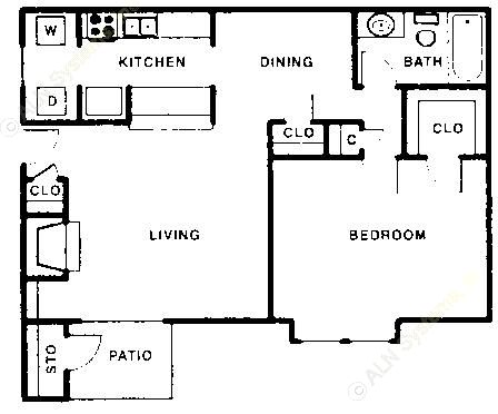 731 sq. ft. A floor plan