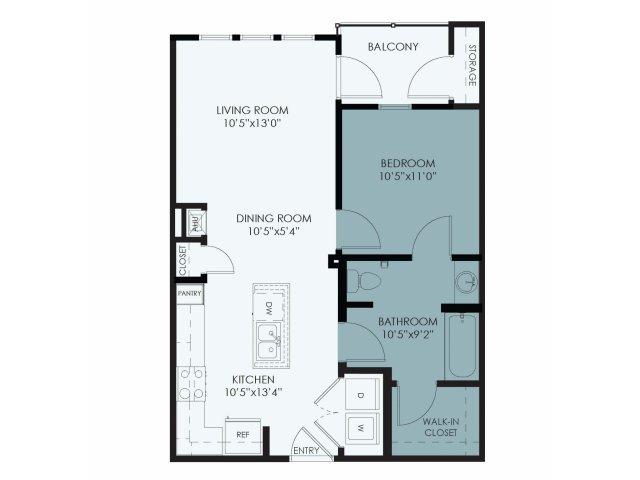 656 sq. ft. 50% floor plan