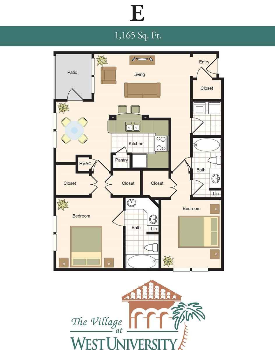1,165 sq. ft. E floor plan