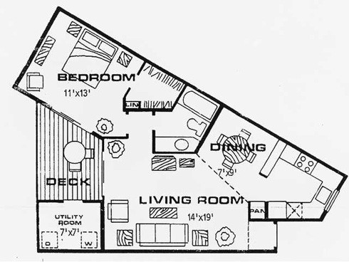 748 sq. ft. DP floor plan