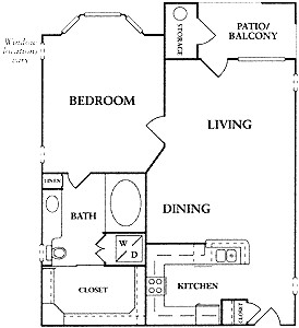 678 sq. ft. A1/A1S floor plan