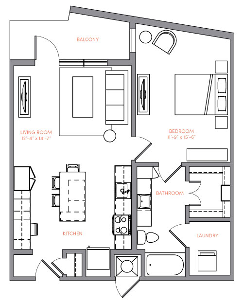 782 sq. ft. A2.1 floor plan