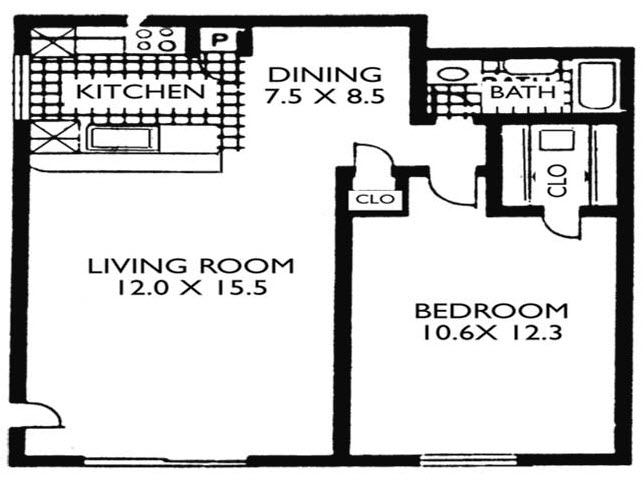558 sq. ft. VP A1 floor plan