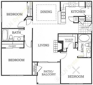 1,205 sq. ft. C1 floor plan