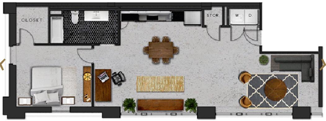 1,083 sq. ft. C floor plan