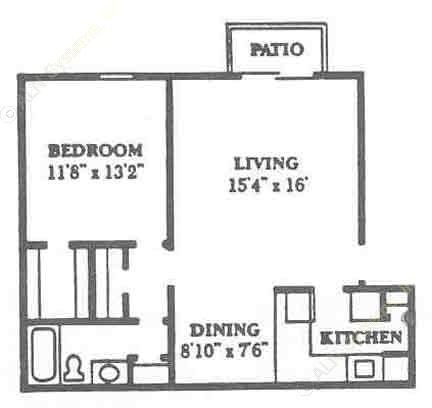 723 sq. ft. A3 floor plan