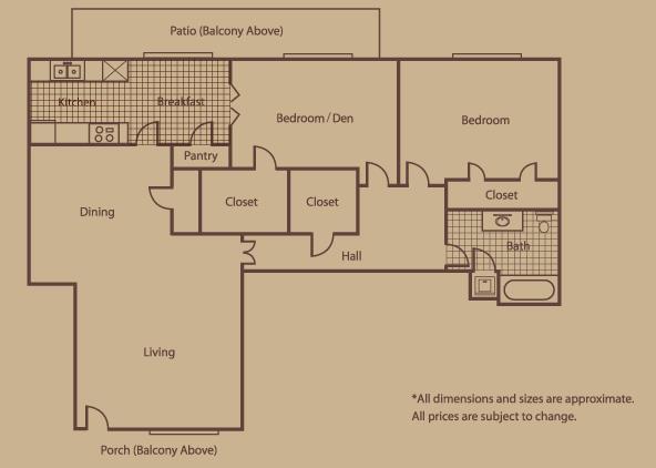 1,134 sq. ft. E floor plan
