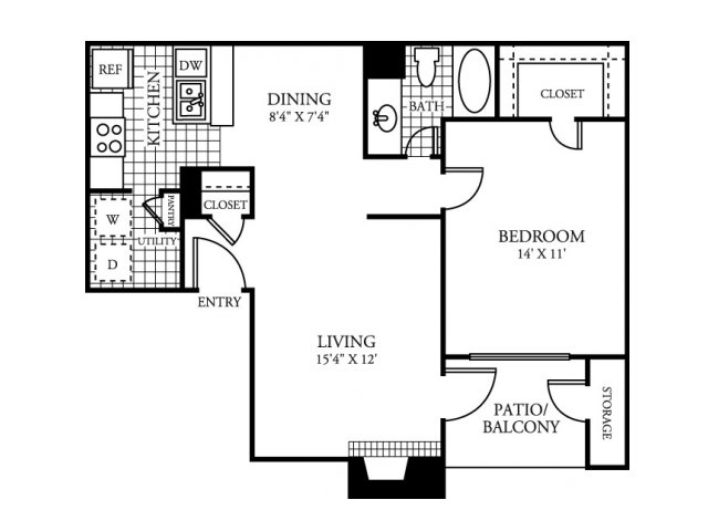 753 sq. ft. B floor plan
