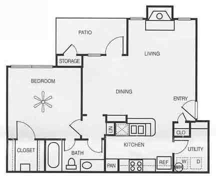 750 sq. ft. A1E/ELM floor plan