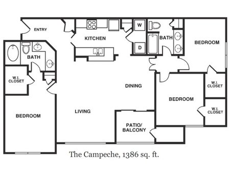 1,344 sq. ft. to 1,386 sq. ft. Campeche floor plan