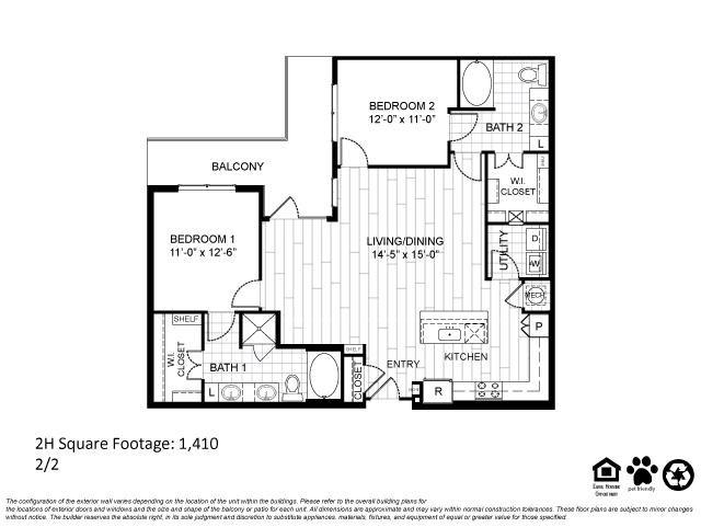 1,410 sq. ft. 2H floor plan