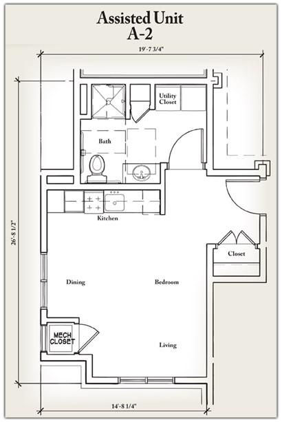440 sq. ft. A2 floor plan