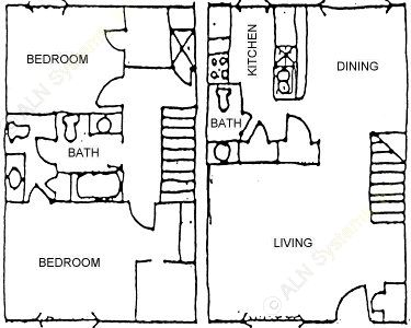 1,215 sq. ft. 2BDRM TOWNHOME floor plan