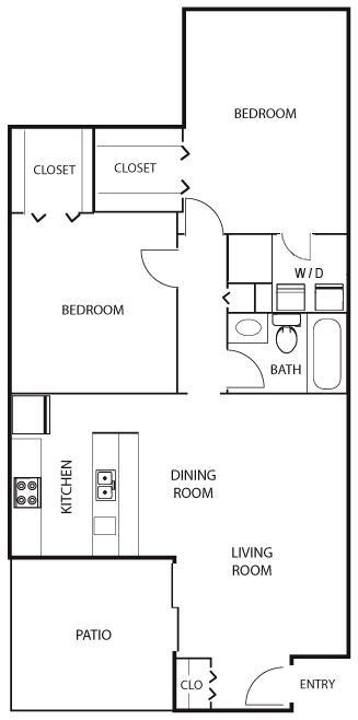 980 sq. ft. B2 floor plan