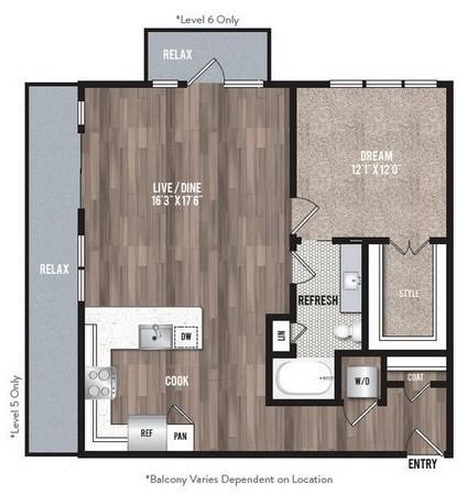 893 sq. ft. A4 floor plan