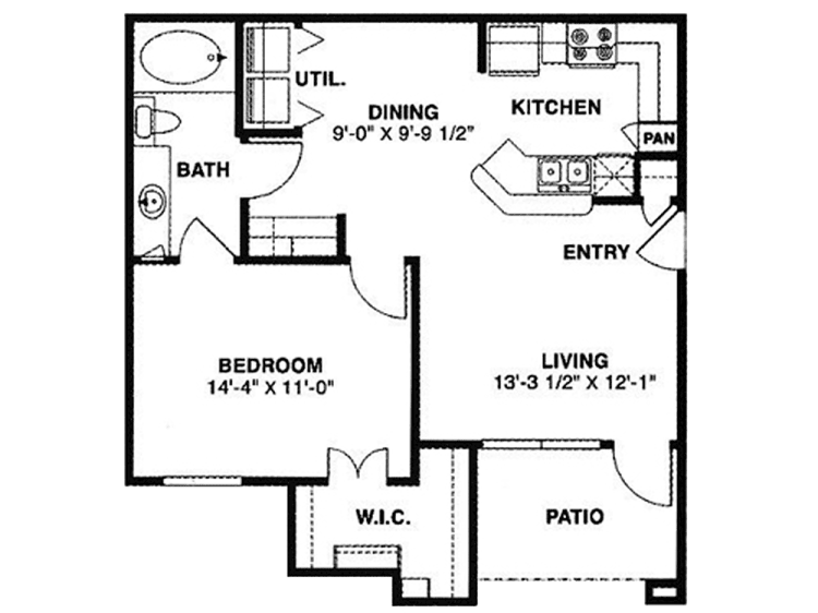 709 sq. ft. 60 floor plan