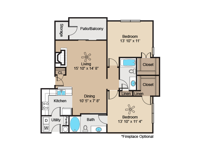 1,062 sq. ft. to 1,110 sq. ft. B1 floor plan