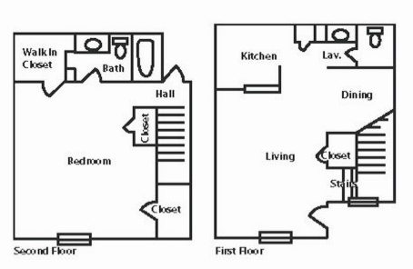 886 sq. ft. to 888 sq. ft. floor plan