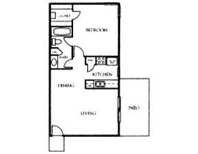 877 sq. ft. A8 floor plan