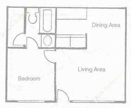 505 sq. ft. A-1 floor plan