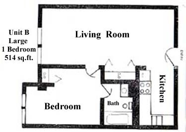 495 sq. ft. to 514 sq. ft. floor plan