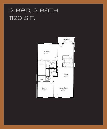 1,120 sq. ft. L floor plan