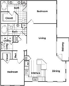 1,259 sq. ft. E floor plan