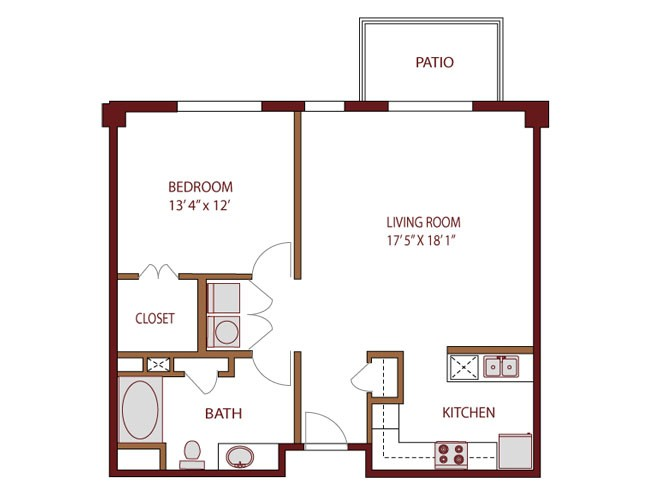 835 sq. ft. to 901 sq. ft. PECOS floor plan