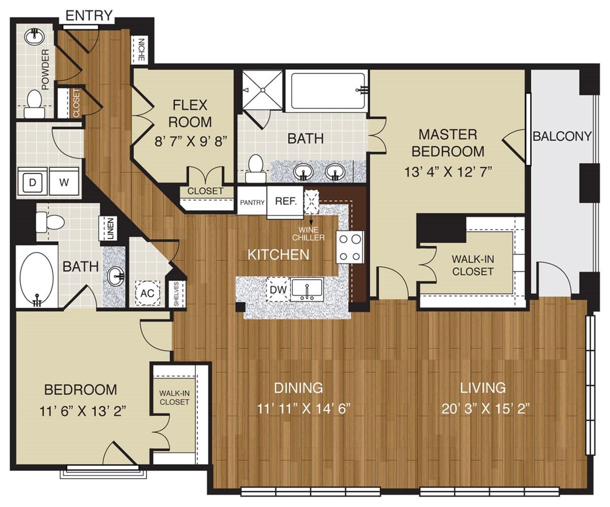 775 sq. ft. A3.3 floor plan