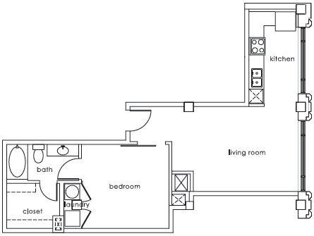 713 sq. ft. GS Plan A floor plan