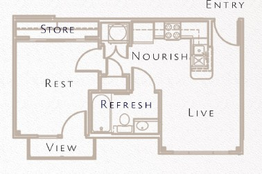 441 sq. ft. A1 floor plan