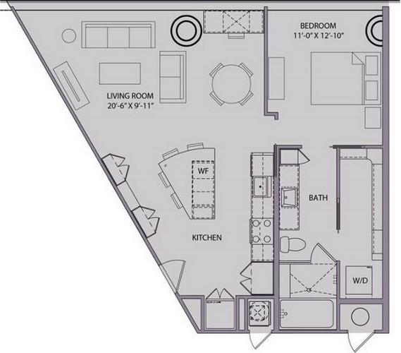 862 sq. ft. A4 floor plan