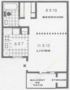 423 sq. ft. A1 floor plan