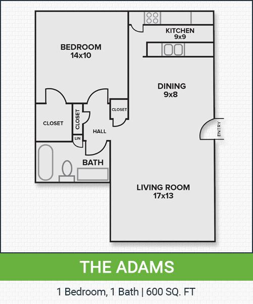 600 sq. ft. Adams floor plan